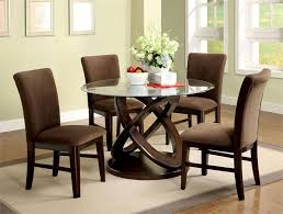 Contemporary Glass Dining Room Sets Swirl Round Glass Dining Room Table And 4 Chairs Set Starrkingschool