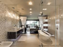 contemporary master bathroom with vessel sink u0026 high ceiling