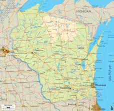 Wisconsin Topographic Map by Wisconsin Land Map