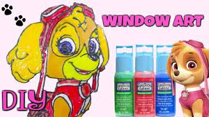 diy nick jr paw patrol skye do it yourself window glass paint fun