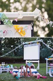 trendy outdoor movie night teen birthday party hostess with the