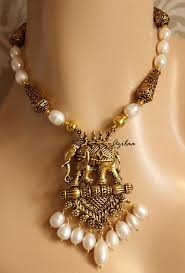 pearls necklace set images Antique gold tone elephant pendant pearl necklace earrings set jpg
