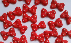 Red Minnie Mouse Cake Decorations Red Polka Dot Bows Ready To Ship Cupcake Toppers Cake