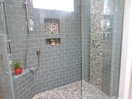 bali pebble tile shower floor with accents subway tile outlet