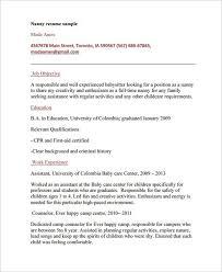 Intelligence Analyst Resume Nanny Objective Resume Unforgettable Full Time Nanny Resume