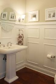 Wainscoting Small Bathroom by Powder Room With Blue Walls Wainscoating And Pedestal Sink