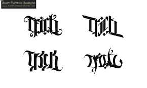 collection of 25 small courage ambigram