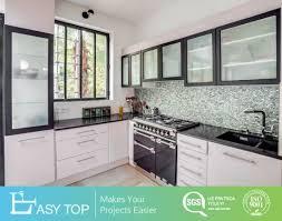 kitchen glass cabinet door manufacturer china wholesale black color melamine glass board door