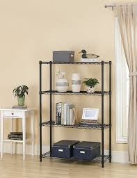 Wire Shelving Desk 4 Tier Steel Wire Storage Rack Shelving Choose Black Or Chrome