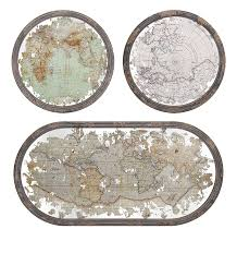 amazon com imax 65249 3 mirrored map wall decor set of 3 home