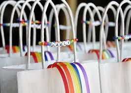 party favor bracelets rainbow ribbon party favor bags and bracelets chickabug