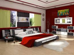 fascinating red bedroom with dazzling modern low gray bed