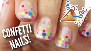 diy party nails using real confetti youtube