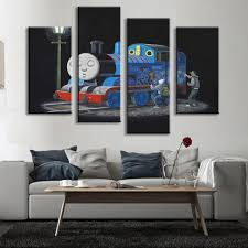 compare prices on wall train set online shopping buy low price 4 pcs set bansky art graffiti on thomas canvas painting the cartoon train wall painting