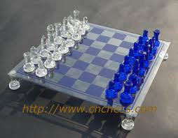 Buy Chess Set Blue Glass Chess Set Buy Glass Chess Set Glass Chess Glass Craft
