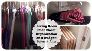 small under the stairs living room coat closet organization on a