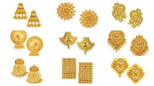 gold earrings studs 22k gold light weight earring stud designs with weight