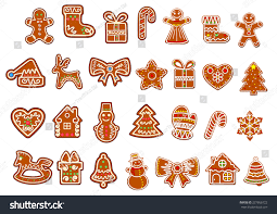 big christmas cookies collection gingerbread cookies stock vector