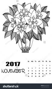 november 2017 calendar line art black stock vector 506705203