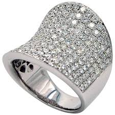pave set rings images Wide concave diamond ring pave set for sale at 1stdibs jpg