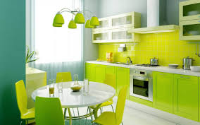 green and lime green kitchen and dining colors theme interior