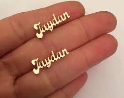 name plate earrings name ear cuff etsy
