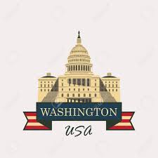 Washington Dc Flag Vector Illustration Capitol Building In Washington Dc With Flag