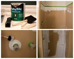how to use tub and tile paint to refinish a shower bright green door