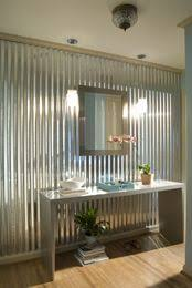 Corrugated Metal Half Bath I Love This Look This As A Kitchen - Corrugated metal backsplash