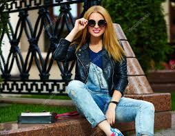 portrait of cute funny modern urban young stylish smiling