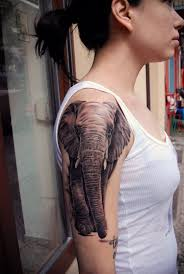 grey ink elephant tattoo on sleeve creativefan