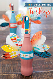 thanksgiving diy crafts thanksgiving craft colorful coke bottle turkeys hostess with