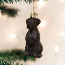 world black labrador retriever glass tree ornament