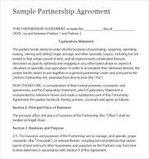 simple business partnership agreement template sample partnership