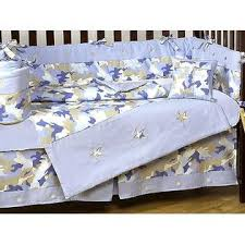 sweet jojo designs camo blue collection 9pc crib bedding set