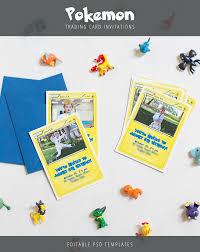 pokemon trading card invitation templates warm chocolate