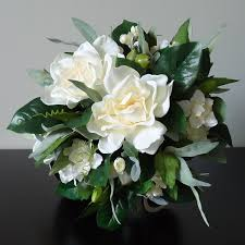 gardenia bouquet silk bridal bouquet with gardenias clusters of ivory larkspur