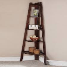 Corner Ladder Bookcase Corner Book Shelfs Sleek Walnut Corner Shelf Bookcase