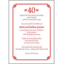 anniversary party invitations 25 personalized 40th wedding anniversary party invitations ap