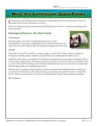 write the conclusion writing activity giant panda passage