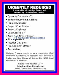 Interior Project Manager Jobs Urgently Required For A Contracting Company Qatar Gulf Jobs For
