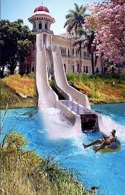 18 a water slide walking down to the pool is so boring