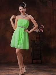 short v neck green beaded dama dress for quinceanera 2014