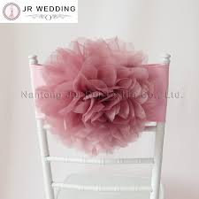 spandex chair sash 50 pcs free shipping dusty pink organza flower chair band flower