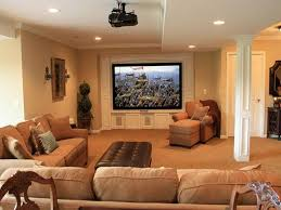 Space Decor by Comfortable Basement Living Space Decorating With Large Tv Wall