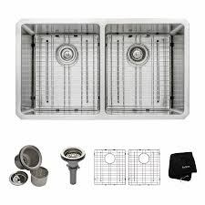 Kitchen Sink Image by Shop Kraus Handmade 19 In X 32 75 In Double Basin Stainless Steel