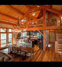 open floor plan with loft wooden walls rustic abode pinterest