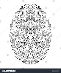 floral easter egg on white backgroundcoloring stock vector