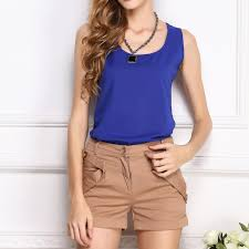 royal blue blouse top royal blue chiffon tank top summer shoulder