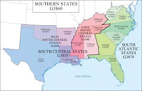map of usa showing southern states lc g schedule map 8 southern states waml information bulletin